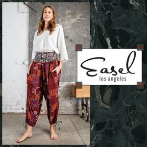 """Easel """"Show You The World"""" Mixed Print Harem Pants"""